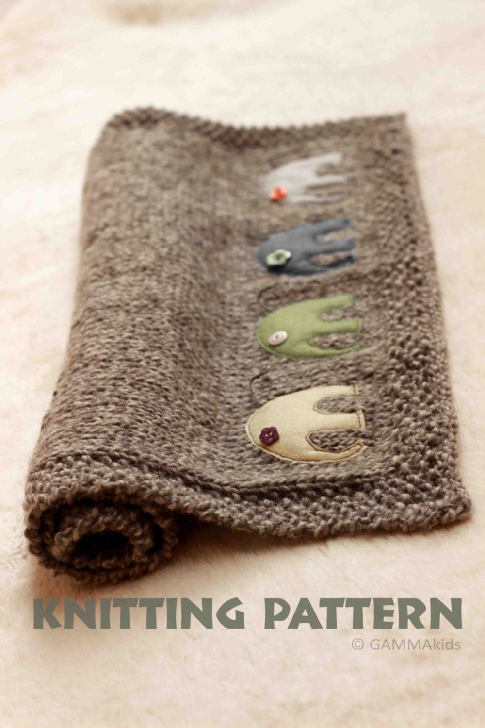 Knitting Pattern For Baby Elephant : Baby blanket KNITTING PATTERN Knitting elephant blanket Baby