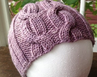 Purple Chunky Cabled Hand Knit Hat