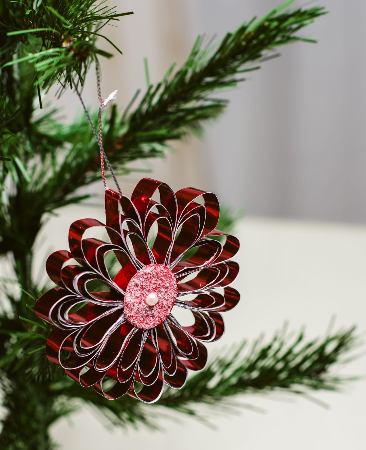 Red Quilled paper snowflake, Quilled Christmas Ornament, Christmas ...