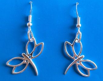 Sterling Silver Dragon Fly Dangle Earrings