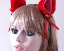 Faux Fur Cat Fox Ear Hair Clips Red Pink With Bells and Satin Ribbon Bow Lolita Neko Kitty Kawaii Soft High Quality Black Headband Handmade