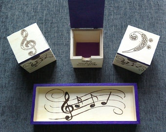 Set of 3 Music-themed Boxes with Nesting Tray - Purple