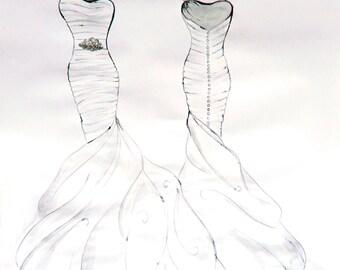 Custom Wedding Dress Illustration