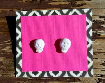 Hand Sculpted White Skull Earrings