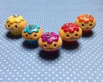 Kawaii Polymer Clay Coloured Cupcake Charm