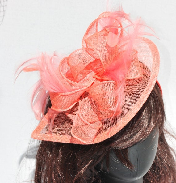 Coral Pink Fascinator Tea Party Hat Church Hat By