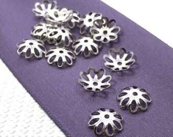 8 mm 100 pcs silver tone Bead Caps