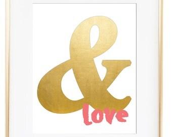 Ampersand Digital Print, Digital Print, Gold, Pink, Wall Art, Modern Art Print, Inspirational Quote, Typography