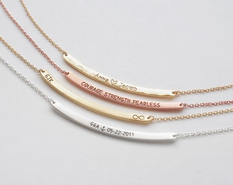 Bar Necklace, Personalized Engraved Name Plate Necklace, Custom Name Bar, Family Name Jewellery - Medium Skinny Curve Bar Necklace #D3.40C