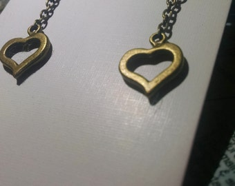 Bronze heart cut-out earrings