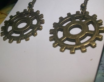 Bronze steampunk gear pendant earrings