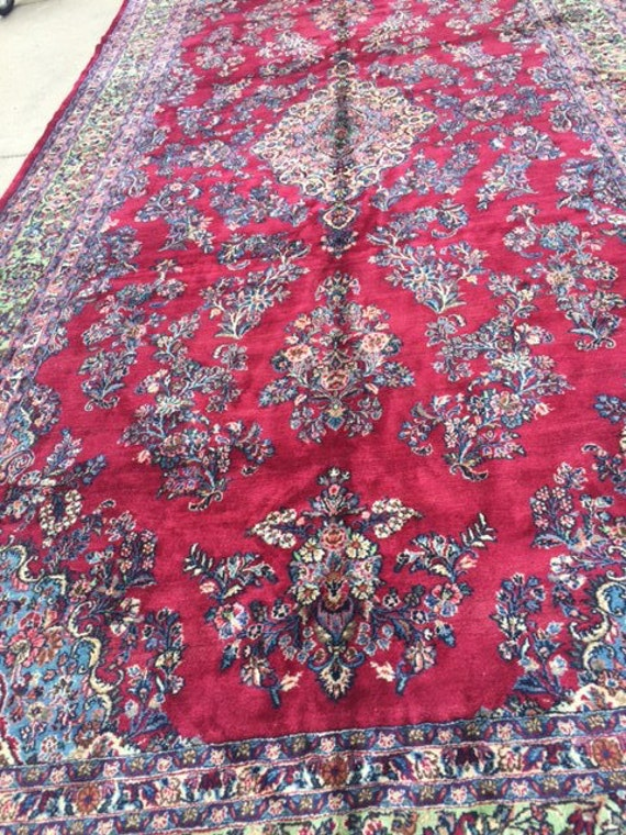 9' x 19' Persian Qazvin Oriental Rug - 1970s - Full Pile - Hand Made - 100% Wool - Vintage