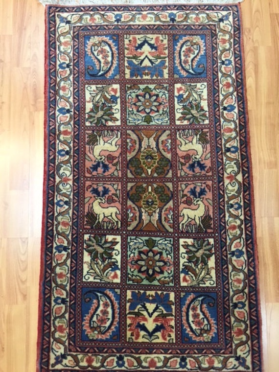 "2'2"" x 4' Persian Sarouk Garden Design Oriental Rug - Hand Made - 100% Wool"