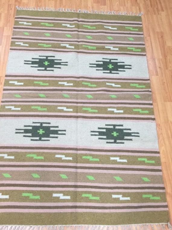 4' x 6' Native American Navajo Flat Weave Oriental Rug - Hand Made - 100% Wool