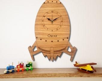 Rocket Wall Clock, Children's Clock,