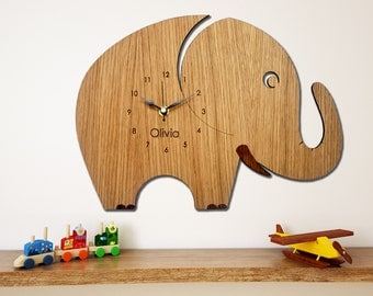 Elephant Wall Clock, Children's Clock,