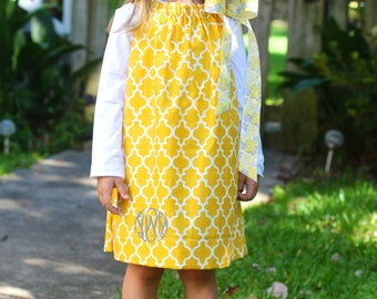Yellow and Grey Pillowcase dress - with MONOGRAM & HAIR BOW