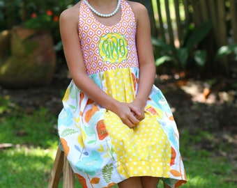 Orange and Yellow Monogramed Halter Dress