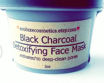Activated Charcoal Face Mask- Organic Skincare Pore Minimizer/ Acne Mask, Blackhead/Vegan Cruelty- Free Detox Cosmetics