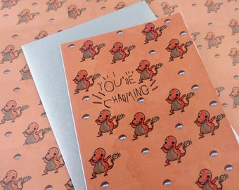 Charmander   Pokemon Greeting Card   Blank   Best Friend   For him   For her   Anniversary   Humour   Punny   Romantic card   All occasion
