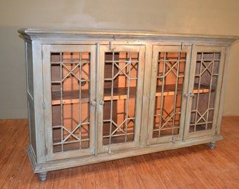 Rustic Solid Reclaimed wood TV Console / China Cabinet / Bookcase / Sideboard