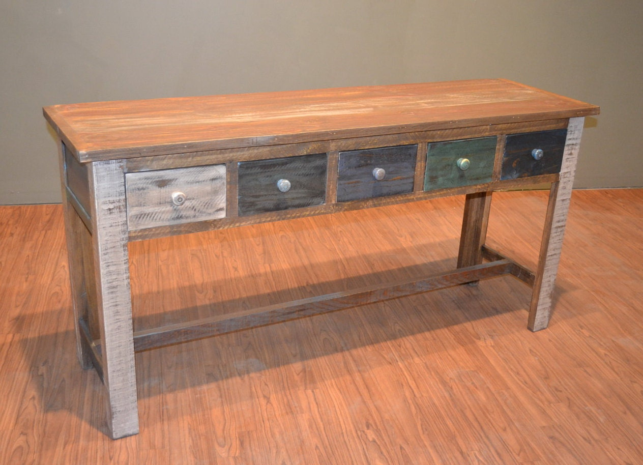Solid Wood Sofa Table ~ Rustic solid wood multi drawer console table sofa