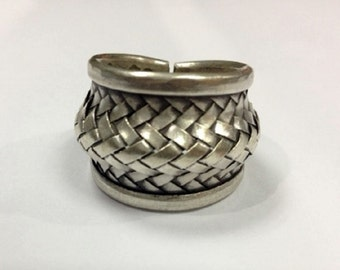 Sterling silver karen hill tribal ring woven silver braided silver statement band fashion jewelry ring