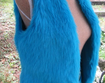 Furry Vest, Electric BLUE, Fun Vest, girls size 16