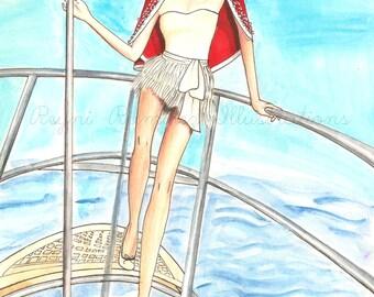 Fashion Illustration Print,In the sea.Art decor. Home decor. Art. Fashion sketch