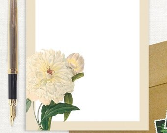 personalized notePAD - WHITE PEONY - custom stationery - stationary - botanical - peonies - flower - floral