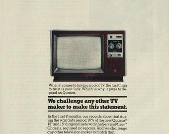 Vintage Quasar TV Print Ad Retro Television Print