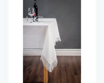 Linen Tablecloth with elegant teardrop border . White custom tablecloth , washes beautifully