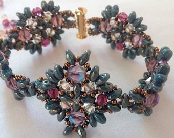 Boho green bracelet Swarovski crystals Bohemian beads Boho cuff bracelet Beaded cuff bracelet Boho Bracelet Gift for her Art jewelry