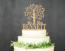 Wooden cake topper Mr Mrs Rustic Cake Topper Personalized Tree Wedding topper