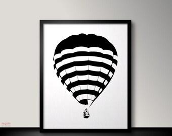 Black and white art print, Hot air balloon print, Hot air balloon decor,Hot air Balloon art,Black and white printable art,Printable wall art