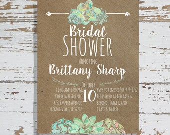 Succulent and Craft Paper Bridal Shower Invitation, Party, Wedding, Bachelorette, Birthday, Digital Download, Personalized