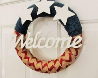 Patriotic Wreath/ American Wreath/ Rustic Americana/ Door Decor/ Welcome Wreath