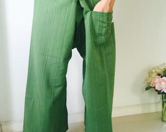 Green Thai Fisherman Pants - 100% Cotton