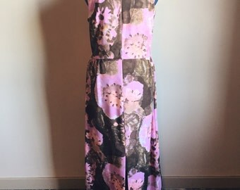 vintage 1970s abstract print dress // geometric cutout + front slit