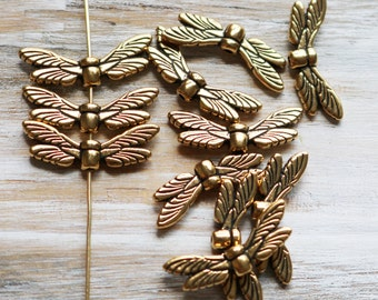 5 Antique Gold Dragonfly Wing Beads Insect Wings Fancy Wing Beads 088TCA
