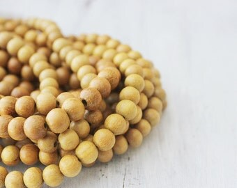 "Yellow Wood Beads 8mm Nangka Wood Beads Round Natural Wood Beads 16"" Strand Wood Mala Beads"