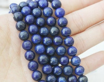 Lapis Lazuli 8mm Round Blue Beads Full Strand