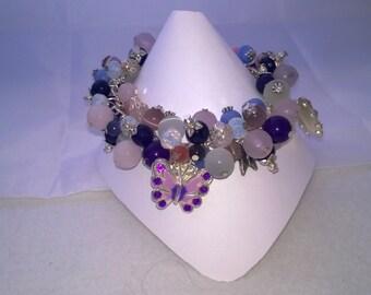 Butterfly Gemstone  Charm Bracelet
