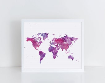 Colorful World Map Print, Purple and Magenta World Map Art, Printable Art, Instant Art, Colorful Art, Watercolor Print, Affordable Art