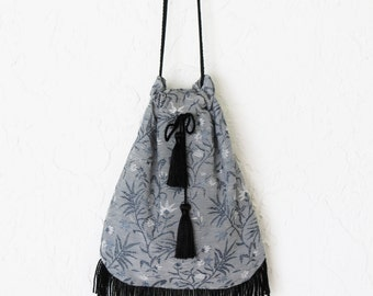 Hippie Bag Floral Brocade with Drawstring Tassels Bohemian Hipster Crossbody Purse Handbag