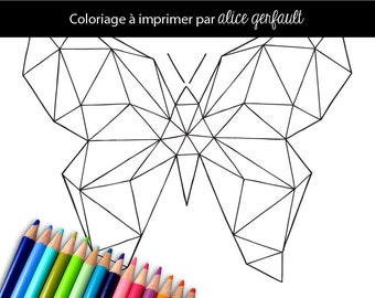 Hand drawn Adult Coloring Printable Page - Geometric Butterfly