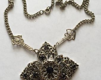 Vintage Victorian Inspired Antiqued Goldtone Black Rhinestone Filigree Pendant Necklace