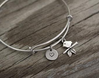 Bird Bangle Bracelet - Bird Branch Charm - Animal Lover Gift- Tweet Tweet - Bird Gift - Bird Lover Gift - I/B/H