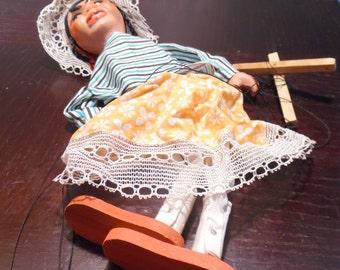 Vintage Hand-made Marionette Puppet - Folk Art Marionette Puppet - Lady Puppet