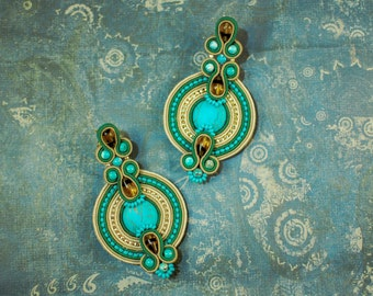 Soutache dangle earrings, Gold and turquoise earrings, Boho earrings, Embroidery earrings, Gift for her, Soutache jewelry, FREE SHIPPING